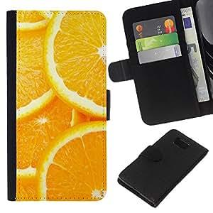 YiPhone /// Tirón de la caja Cartera de cuero con ranuras para tarjetas - Modelo anaranjado de la rebanada - Samsung ALPHA G850