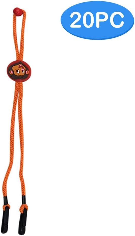 20 correas de longitud ajustable para niños, para bandana facial, cordón práctico para sostener gafas, cómodo alrededor del cuello, protector de rostro y cuerda para sujetar los oídos