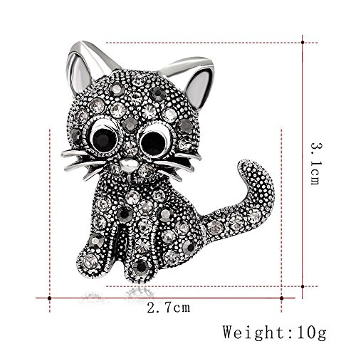 (Cute Alloy Rhinestone Black Brooches Cat Women Jewelry Accessories)