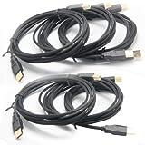 yoga_Style (15 Feet) USB Type A Male to Type B Male Cable w/nylon net, 2.0 Version, Black - 5 pcs