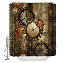 DCGARING Shower Curtain Art Bathroom Home Decorations- Punk Design Gear Wall Clock -Polyester Fabric Shower Curtain Set with Hooks -Size:4872
