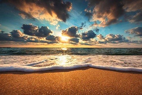 (Laminated Beautiful Beach Sunrise Over The Sea Landscape Photo Sign Poster 18x12 inch)