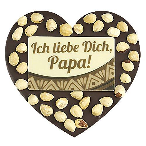 ChocoHerz 'Papa' mit Haselnüssen - Edler weißer Schokolade | Herzform | Papa | Vater Geschenk | Vatertagsgeschenk | Geschenkidee | Geschenke für Papa | Schoko | Vati | Papi | Herz