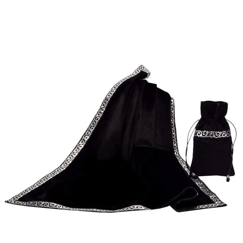 Bimmer (TM) 祭壇 タロット テーブルクロス/バッグ 装飾 仕切りカード ウィッカ 正方形 テーブルクロス ポーチ ディビネーションブランケット M ブラック Binmer-002  ブラック B07NXX3748