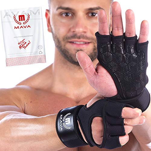 Mava Sports Weight Lifting Gloves Gloves with Integrated Wrist Wraps and Full Palm Silicone Padding. Unisex.Weight Lifting Lifting Gloves Workout Gloves for Women Gym Gloves for Men