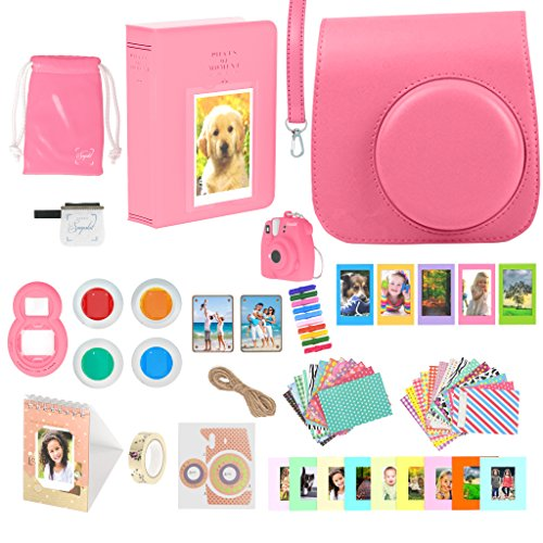 Accessories Bundle for Fujifilm Instax Mini 9 Camera – Flamingo Pink 16 Piece Kit Includes: Protective Case + Strap, 2 Photo Albums, Keychain, Hanging Frames, Selfie Lens, Magnets, Gift Box