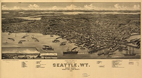 Map: 1884 Bird's eye view of the city of Seattle, W.T., Puget Sound, county seat of King County - Men Pakistani Pictures