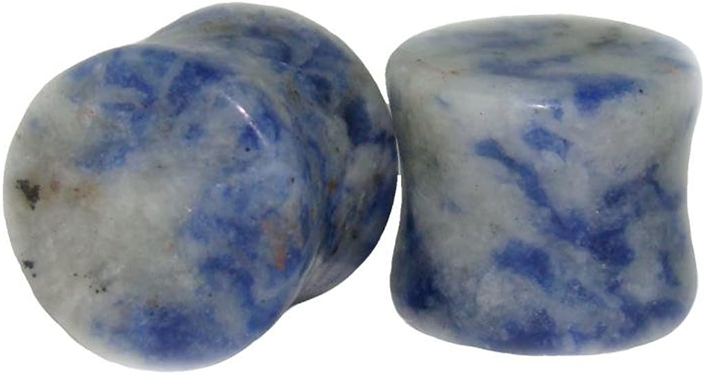 up to 38mm Available! Lobal Domination Pair of Blue Spot Jasper Organic Stone Plugs Gauges