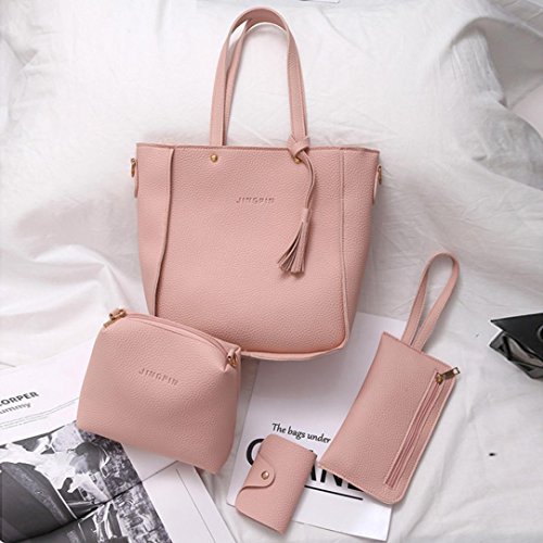 Yoyoug Pieces Handbag Four Shoulder 4 Set Tote Pcs Wallet Crossbody Pink Bags Hot Bag Women xZRxHYqU
