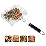 YFH56412 BBQ Basket, Barbecue Net, Portable Stainless Steel Barbecue Tool with Handle Outdoor Camping Grilled Fish and Shrimp, Steak, Vegetables.