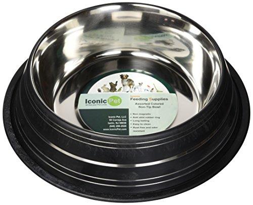 (Iconic Pet Color Splash Stripe Non-Skid Pet Bowl, 64-Ounce, Black)
