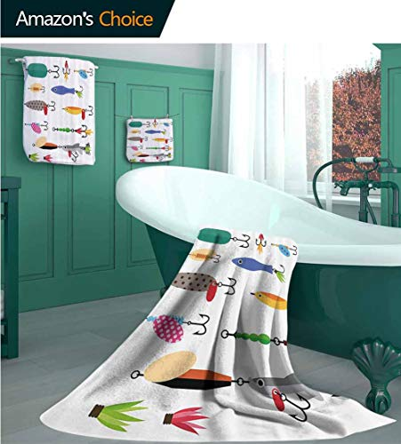 PINAFOREHOME Fishing Decor 3 Piece Luxury Bamboo Towel Set, Elements of Fishing Line with Stringer Net Bite Indicators Worms Waders Image, Quality Luxury Towel Gift Sets Printed Towels Set Multi