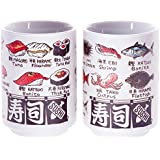 Japanese tea cup, Sushi-yunomi, ceramic, printed sushi and fish names and by English and Kanji, set of 2