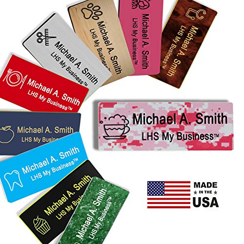 LHS My Business | Magnetic Name Tags - Custom Engraved Pink Digicam Plastic Badge with Black Lettering Personalized in The USA - C4