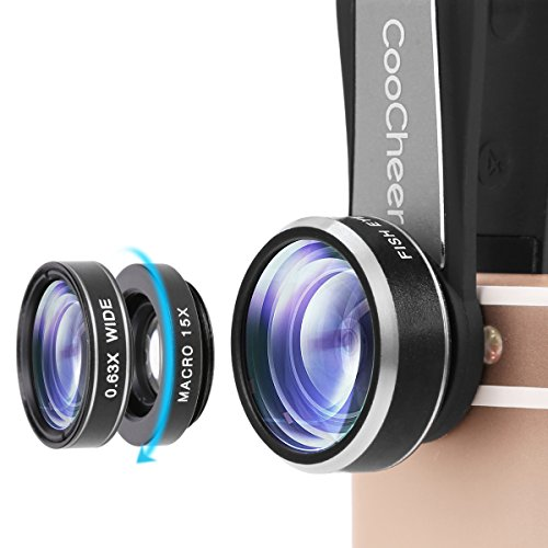 3-in-1 Macro/Fish-eye/Wide Clip Lens for Mobile Phone and Tablets (Silver) - 4