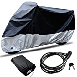 CARSUN All Season Two-color Design Waterproof & Aluminum Lock Holes & Buckle & Free Lock Outdoor Indoor Sun Motorcycle Cover Size1/2/3 for Choice(SIZE 3-116.1