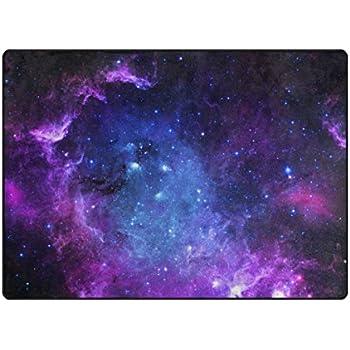 My Little Nest Universe Galaxy Purple Sky Stars Custom Area Rug 4'10