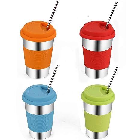 Amazon.com: Vermida - Vasos de acero inoxidable con tapas y ...