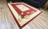 New Classic Red Burgundy Beige Flower Design Rug Hand Carved Machine Made Area Rug Carpet 8 by 11