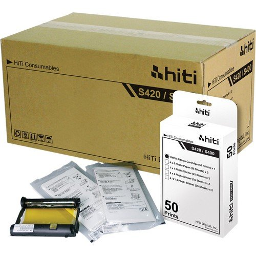 HiTi Digital Inc. 4x6'' 50 Prints Photo Paper & Ribbon Pack for S400/420 Printer - Carton (12 Packs) by HiTi Digital