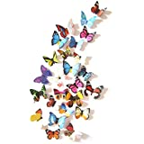 Amaonm® 19 Pcs Removable Diy Pvc 3d Colorful Butterfly...