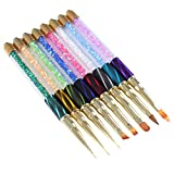 BORN PRETTY UV Gel Liner Painting Gradient Brush Pen Cat Eye Rhinestone Handle Manicure Nail Art Brush 8 Colors