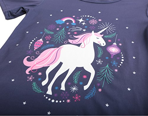 MyFav Big Girls' Summer Pajama Sets Cute Horse Sleepwears Cartoon Children PJS by MyFav (Image #3)