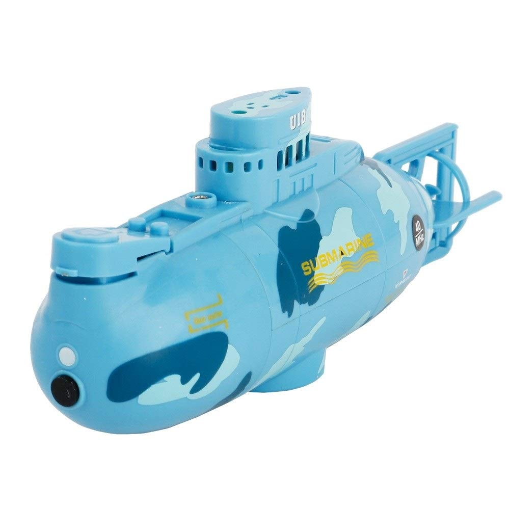 Woote Remote Control Boat Plastic Model Kids Mini RC Water Boat Toy Submarine Ship Electric Toy Waterproof Diving in Water Indoor Toys for Fish Tank Pools Kids Gift Waterproof ( Color : Blue ) by Woote