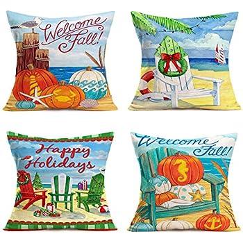 Hopyeer Autumn Harvest MerryChristmas Festival Sofa Bed Decor Throw Pillow Covers Ocean Beach Sea Pumpkin Gulls Xmas Chairs Starfish Seahorse Fall Cotton Linen Cushion Case Cover 18