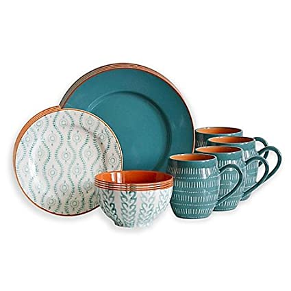 Amazon.com | Baum Tangiers 16-Piece Dinnerware Set in Turquoise ...