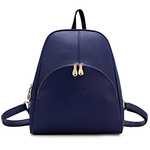 ELOMBR Women's Backpack Purse Pu Leather Ladies Casual Shoulder Bag School Bag for Girls (Blue2)