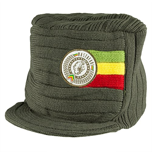 (Bob Marley - Rastafari Beanie with Brim,Green,One Size)