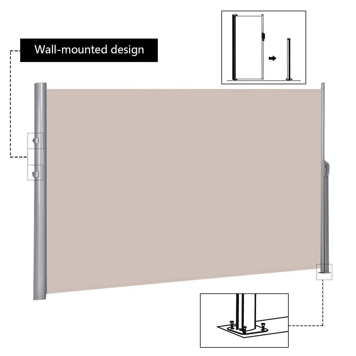 Tangkula Outdoor Patio Retractable Folding Side Screen Awning Waterproof Sun Shade Wind Screen Privacy Divider (118.5'' x 71'', Beige) by Tangkula (Image #4)