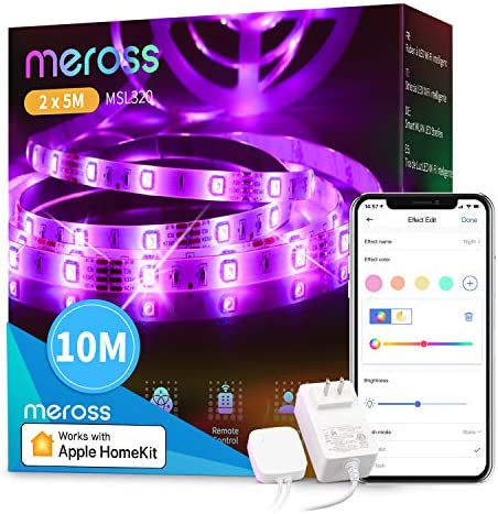 meross Led Strip Lights Works with Apple HomeEquipment, Smart 5050 RGB Strip, Compatible with Siri, Alexa&Google and SmartIssues for Home, Kitchen, Bedroom, Party, Christmas (2X16.4FT)