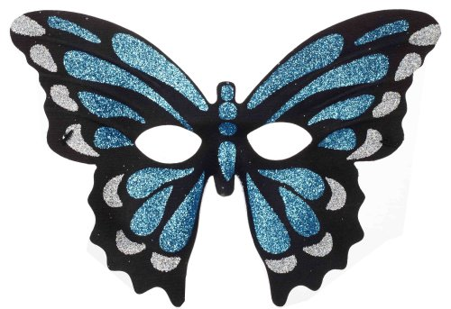 Forum Mardi Gras Costume Masquerade Half Mask Glitter Butterfly, Blue/Black, One Size ()
