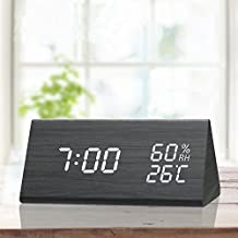 TooTa Digital Clock, 3 Alarm Settings, with Wooden Electronic LED Time Display, Dual Temperature & Humidity Detect, Ideal for Bedroom, Bedside Kids, Batteries not Needed, Black
