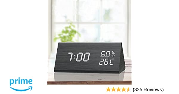 Digital Alarm Clock, with Wooden Electronic LED Time Display, 3 Alarm  Settings, Humidity & Temperature Detect, Wood Made Electric Clocks for  Bedroom,