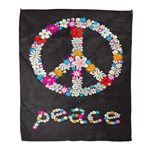 Golee Throw Blanket Sign Peace Flower Symbol 1970S Floral 70S Pattern Abstract Black 60x80 Inches Warm Fuzzy Soft Blanket for Bed - Sign Fleece Peace