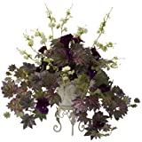 Nearly Natural 6729 Morning Glory and Cherry Blossoms with Decorative Metal Planter, Green/Purple