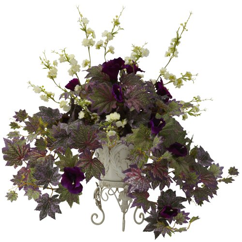 Nearly-Natural-6729-Morning-Glory-and-Cherry-Blossoms-with-Decorative-Metal-Planter-GreenPurple