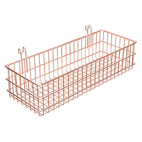 Simmer Stone Rose Gold Basket for Wire Wall Grid Panel, Wall Mount Hanging Organizer,Wire Metal Storage Shelf Rack Idea for Wall Decor ()