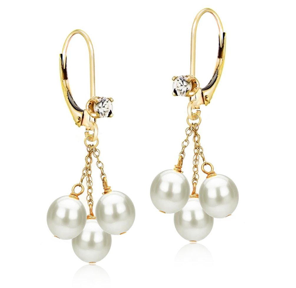 14k Yellow Gold 3-rows 5-5.5mm White Freshwater Cultured Pearl .10tcw CZ Lever-back Earrings