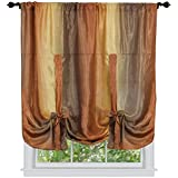 Collections Etc Ombre Shimmery Sheer 50″x63″ Tie Up Shade Rod Pocket Curtain Panel, Autumn, Tie-Up Shade Review