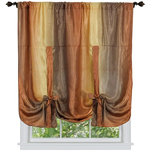 Ombre Sheer Tie Up Shade Window Panel, Autumn, Tie-Up Shade