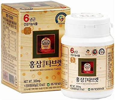 Authentic 6years Korean Red Ginseng – 300mg X 200 Tablets – Healthy Immune Support, Improving Blood Flow and Memory 100 Red Ginseng Extract