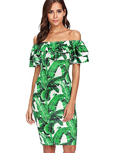 Floerns Women's Floral Ruffle Off Shoulder Party Sexy Bodycon Dress Green M ()