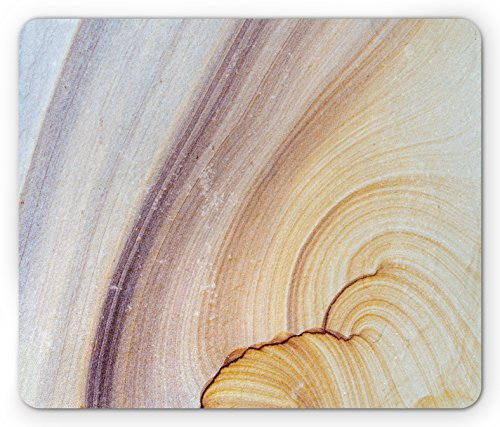 Sandstone Marble (Marble Mouse Pad by Lunarable, Sandstone Rock Facet Pattern in Gradient Tones Artistic Marbling Image, Standard Size Rectangle Non-Slip Rubber Mousepad, Light Coffee Brown Beige)