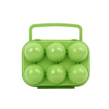BESPORTBLE Eier Aufbewahrungsbox mit Griff Tragbare Eierbox Eierbeh/älter Eiertr/äger Vorratsdose f/ür Outdoor Picknick Camping Wandern 6 Gitter Gr/ün