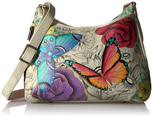 Anna by Anuschka Women's Genuine Leather Medium Hobo Handbag | Hand Painted Original Artwork | Zip-Top Crossbody | Floral Paradise ()