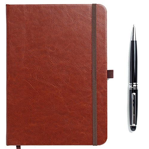 Diary Journal Notebook Leather in Style Writing Book A5 - 160 Pages with a Black Ballpoint Rolling Pen